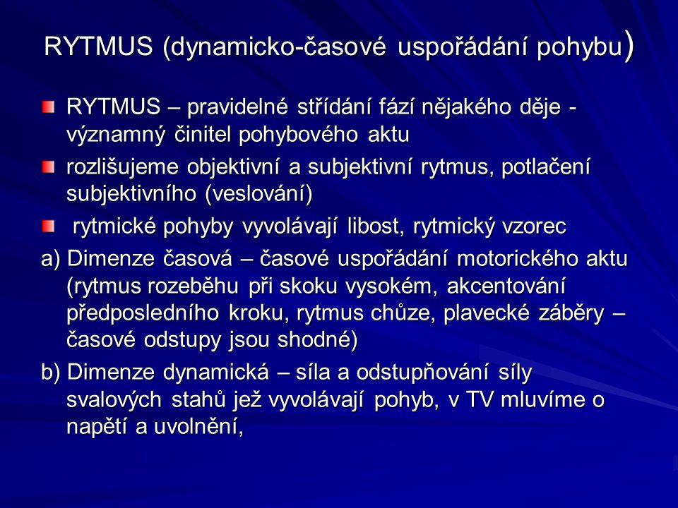 RYTMUS (dynamicko-časové uspořádání pohybu)