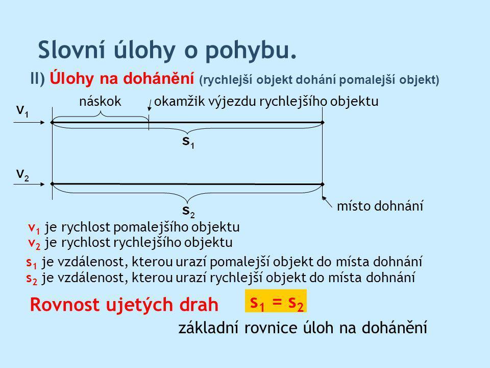 Slovní úlohy o pohybu. s1 = s2 Rovnost ujetých drah