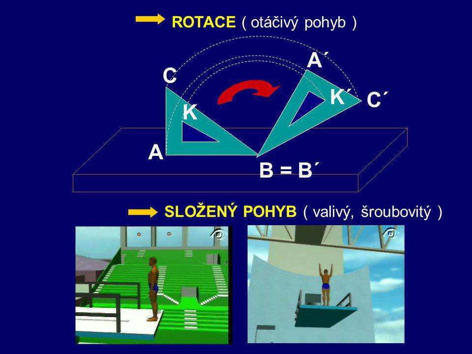 A´ C K´ C´ K A B = B´ ROTACE ( otáčivý pohyb )