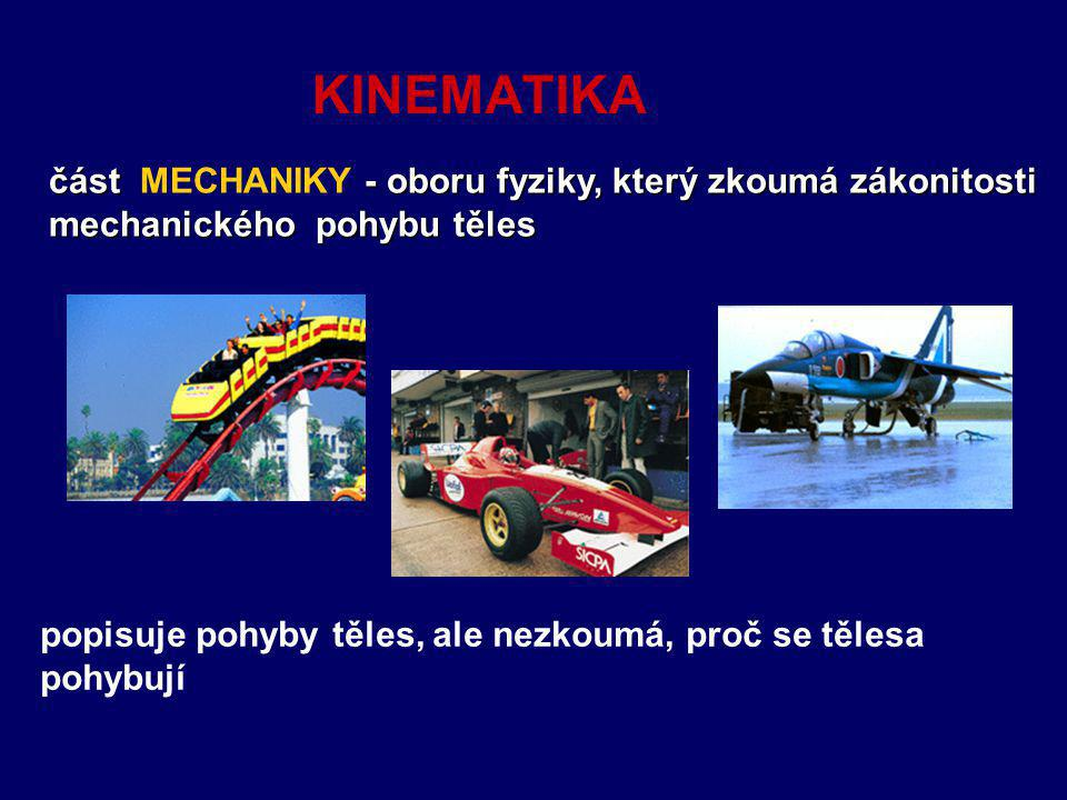 KINEMATIKA část MECHANIKY - oboru fyziky, který zkoumá zákonitosti mechanického pohybu těles.