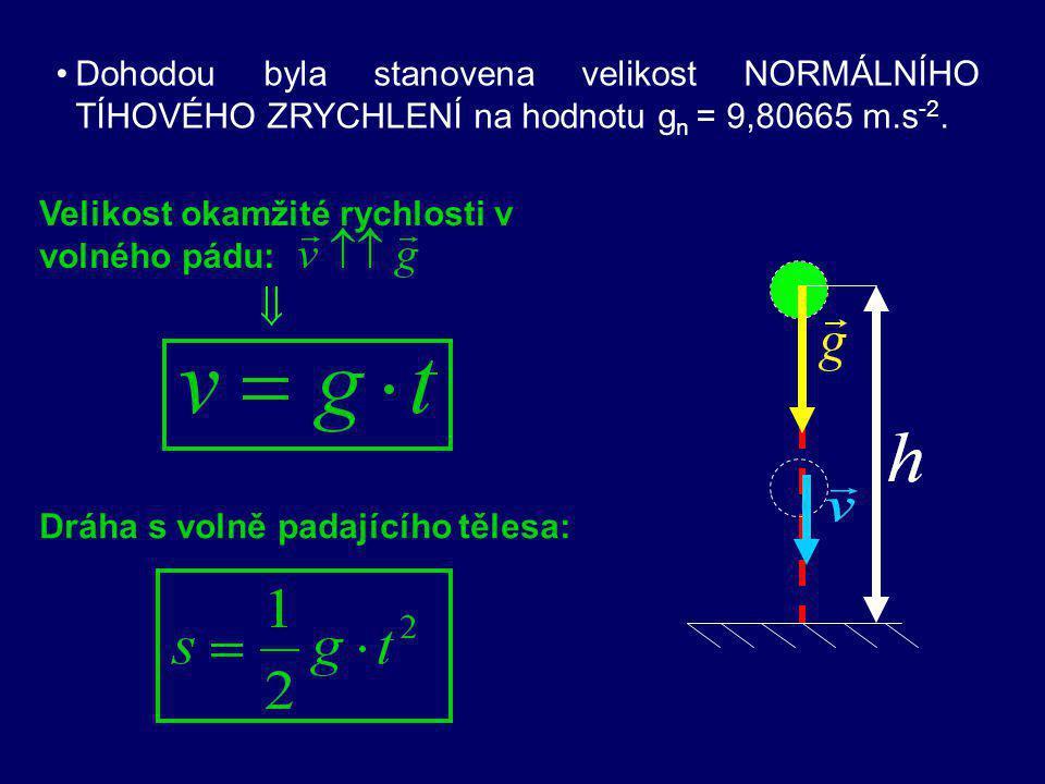 Dohodou byla stanovena velikost NORMÁLNÍHO TÍHOVÉHO ZRYCHLENÍ na hodnotu gn = 9,80665 m.s-2.