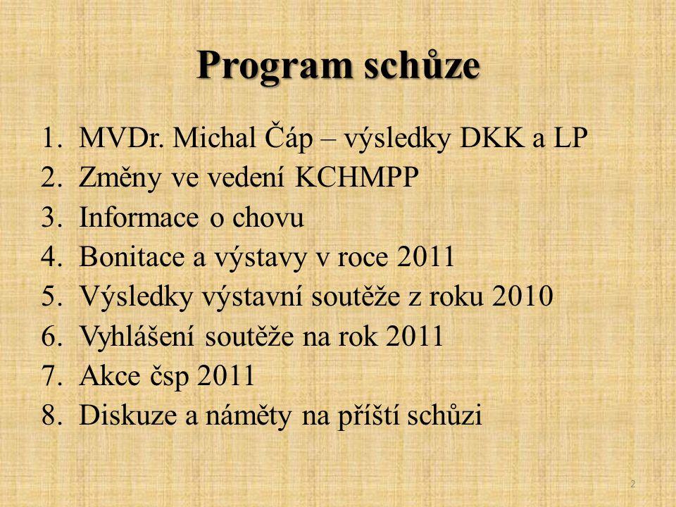 Program schůze MVDr. Michal Čáp – výsledky DKK a LP