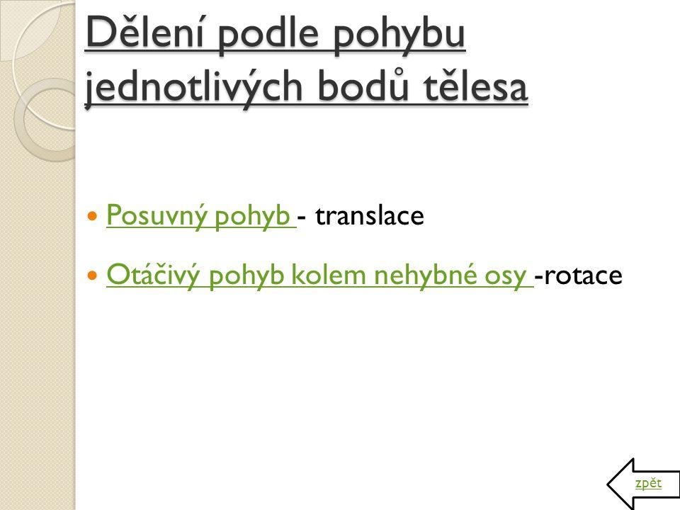 Dělení podle pohybu jednotlivých bodů tělesa