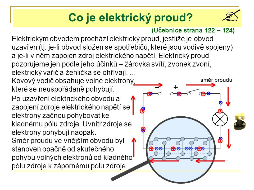 Co je elektrický proud (Učebnice strana 122 – 124)