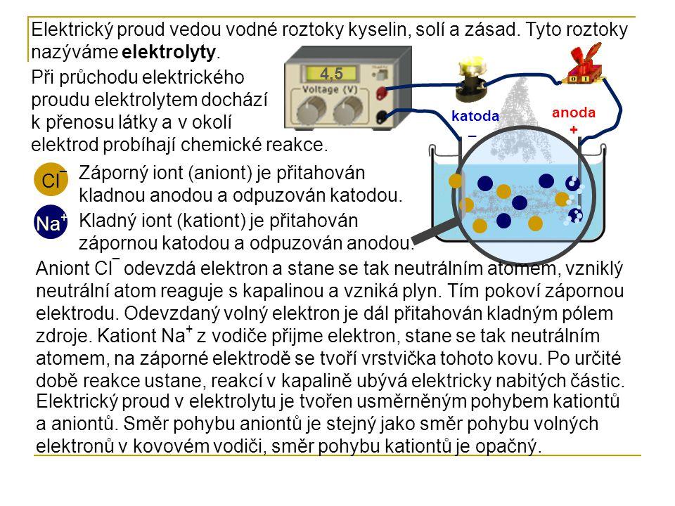 Elektrický proud vedou vodné roztoky kyselin, solí a zásad