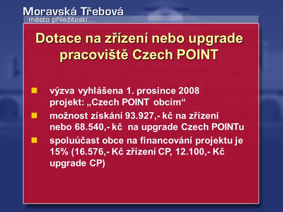 Dotace na zřízení nebo upgrade pracoviště Czech POINT