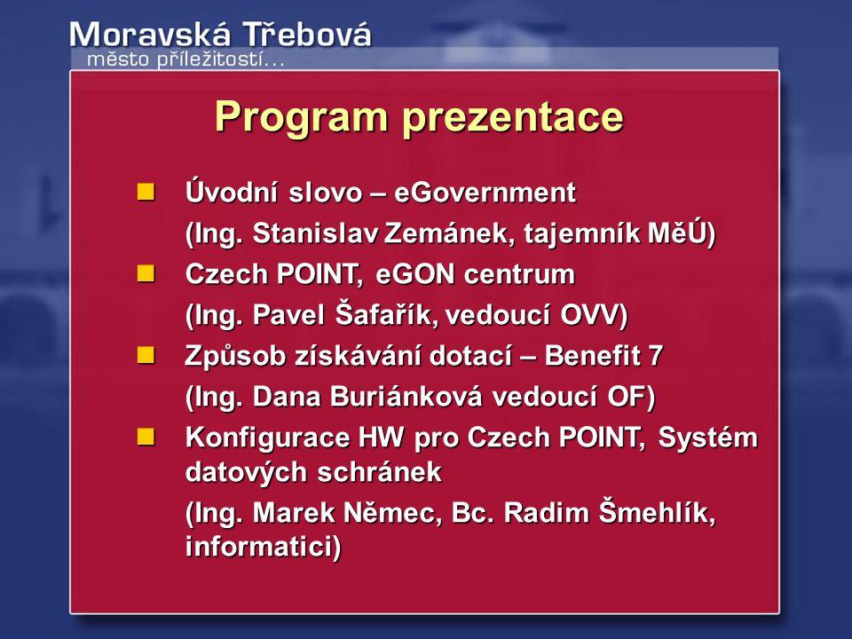Program prezentace Úvodní slovo – eGovernment