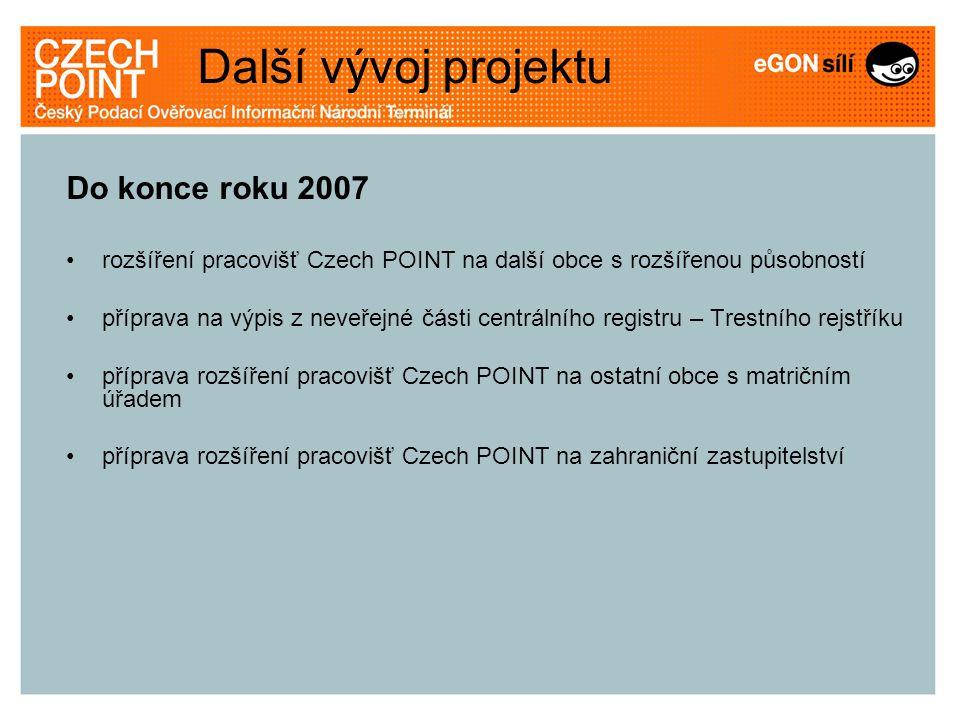 Další vývoj projektu Do konce roku 2007