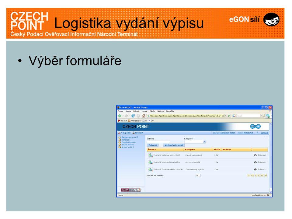 Logistika vydání výpisu