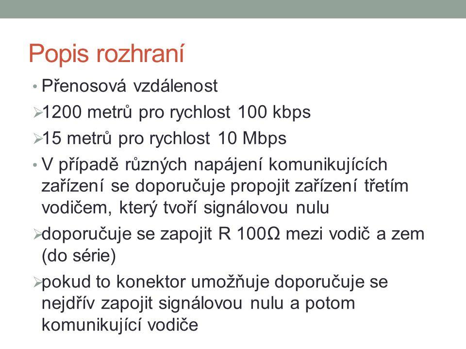 Popis rozhraní Přenosová vzdálenost 1200 metrů pro rychlost 100 kbps