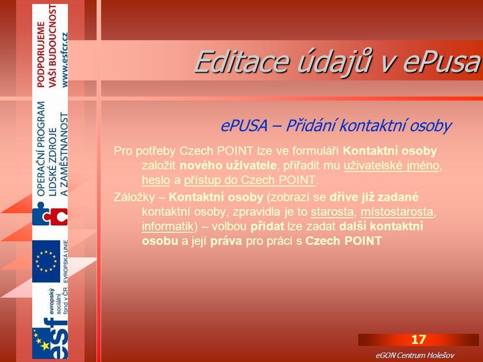 Editace údajů v ePusa ePUSA – Přidání kontaktní osoby