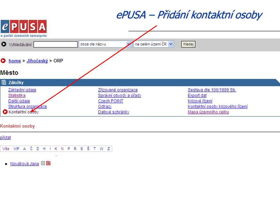 ePUSA – Přidání kontaktní osoby