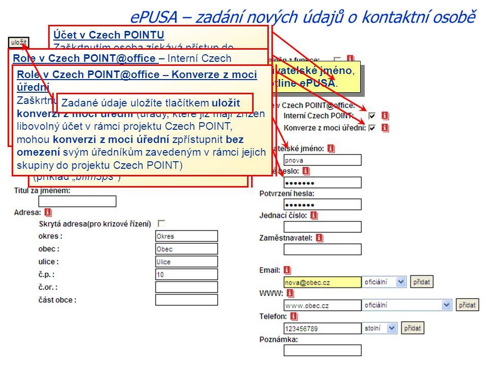 ePUSA – zadání nových údajů o kontaktní osobě