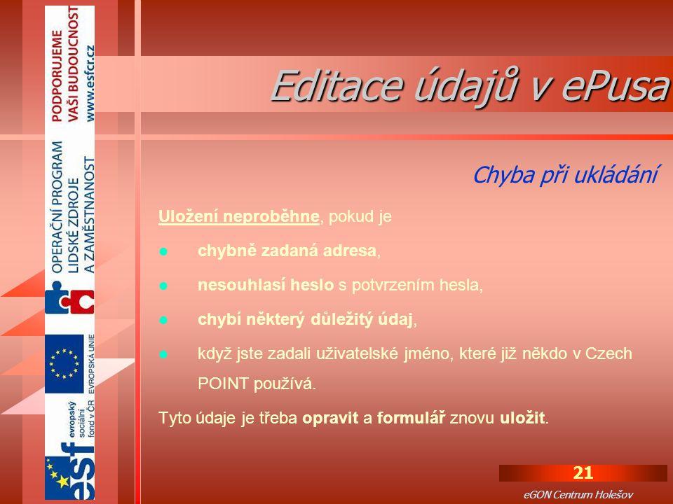 Editace údajů v ePusa Chyba při ukládání Uložení neproběhne, pokud je