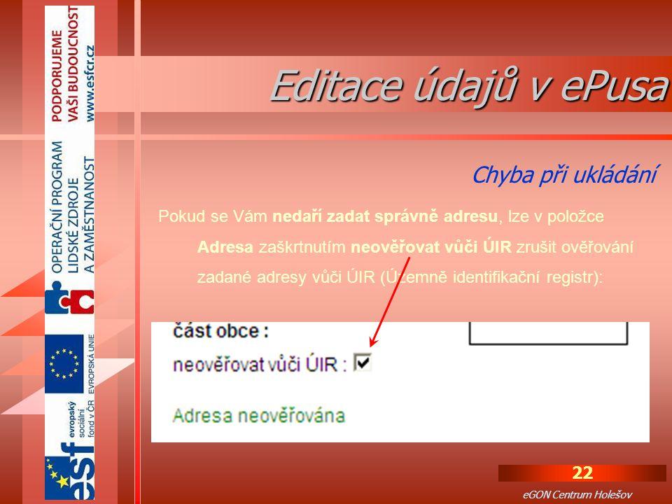 Editace údajů v ePusa Chyba při ukládání