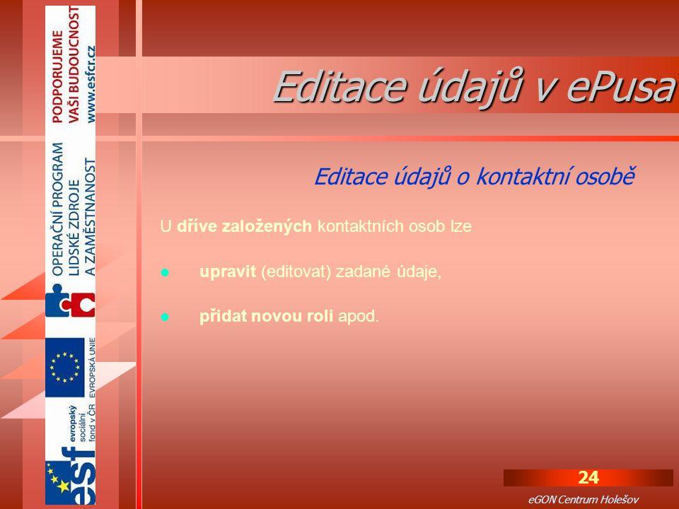 Editace údajů v ePusa Editace údajů o kontaktní osobě