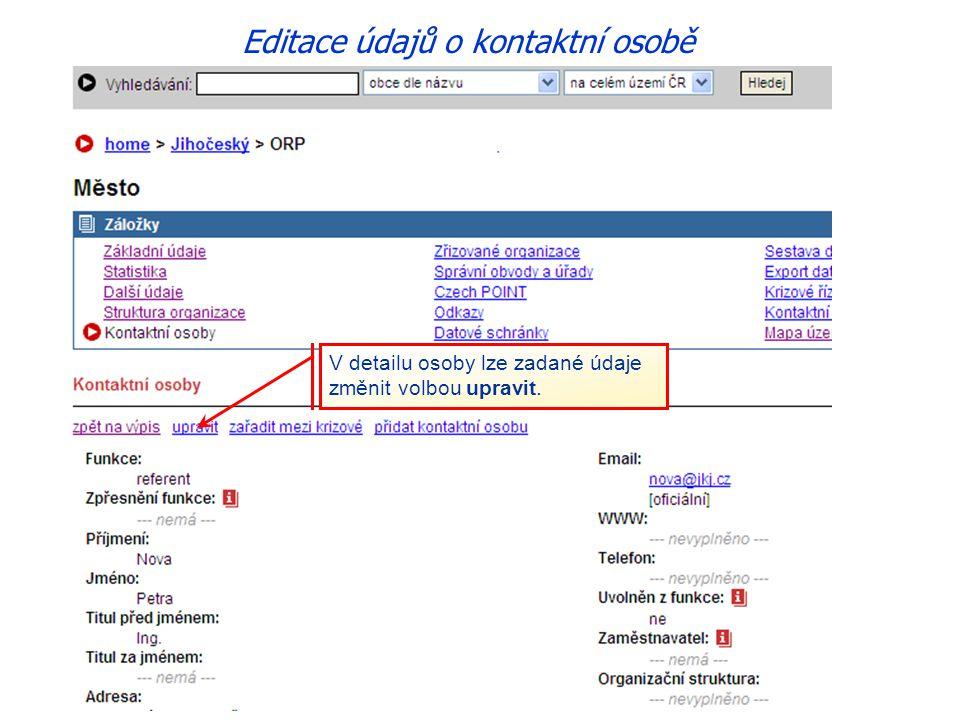 Editace údajů o kontaktní osobě