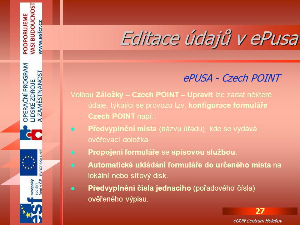Editace údajů v ePusa ePUSA - Czech POINT