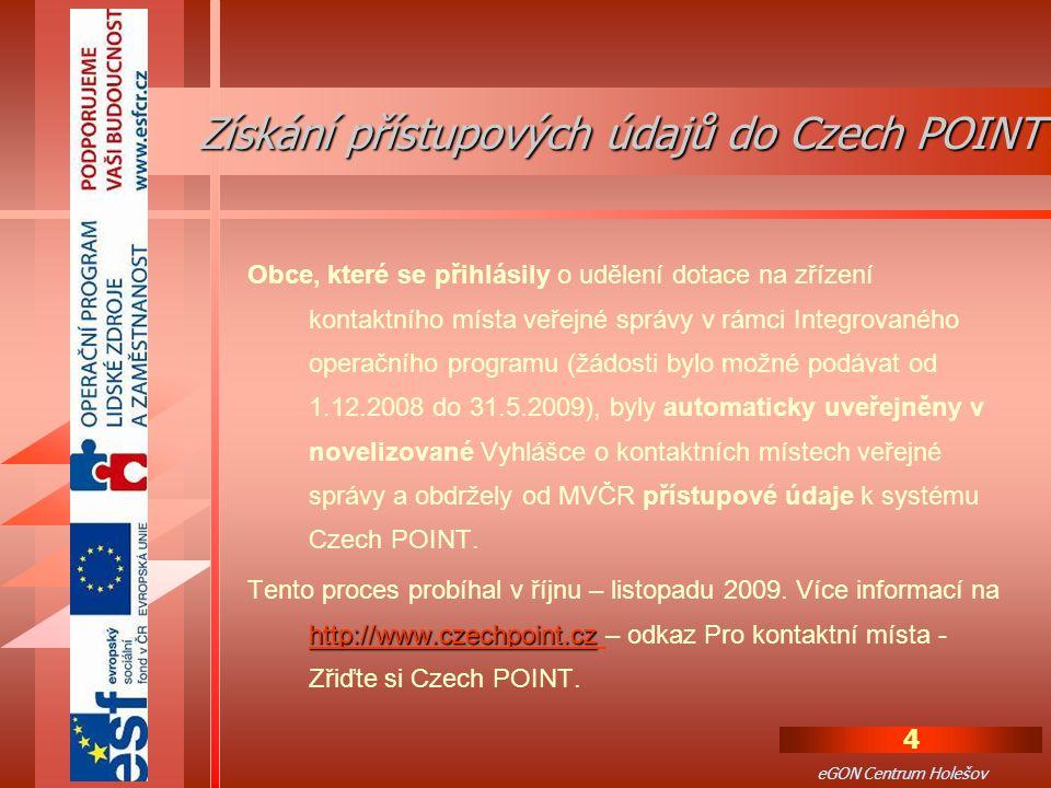 Získání přístupových údajů do Czech POINT