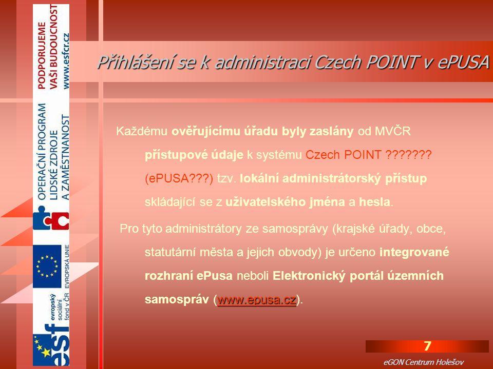 Přihlášení se k administraci Czech POINT v ePUSA
