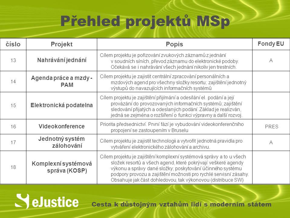 Přehled projektů MSp číslo Projekt Popis