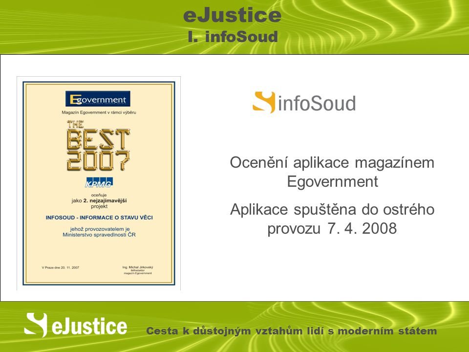 eJustice I. infoSoud Ocenění aplikace magazínem Egovernment