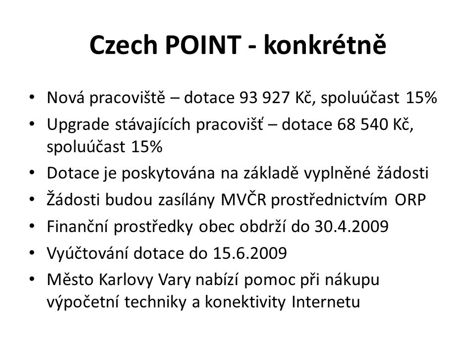 Czech POINT - konkrétně