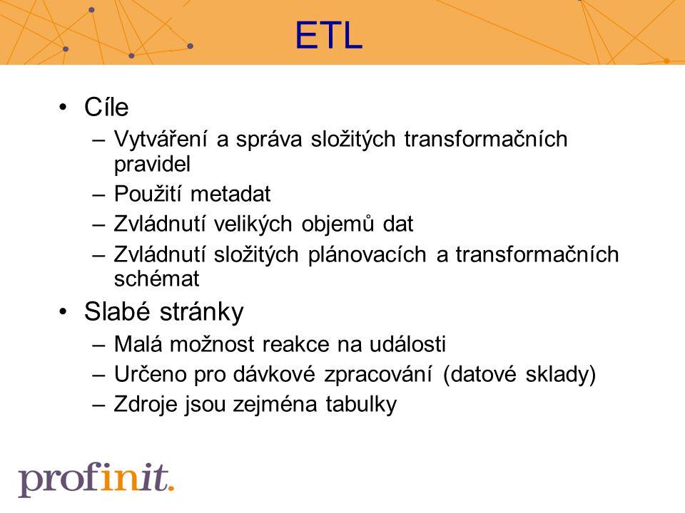 ETL Cíle. Vytváření a správa složitých transformačních pravidel. Použití metadat. Zvládnutí velikých objemů dat.