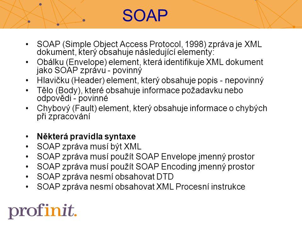SOAP SOAP (Simple Object Access Protocol, 1998) zpráva je XML dokument, který obsahuje následující elementy: