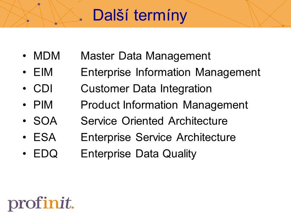 Další termíny MDM Master Data Management