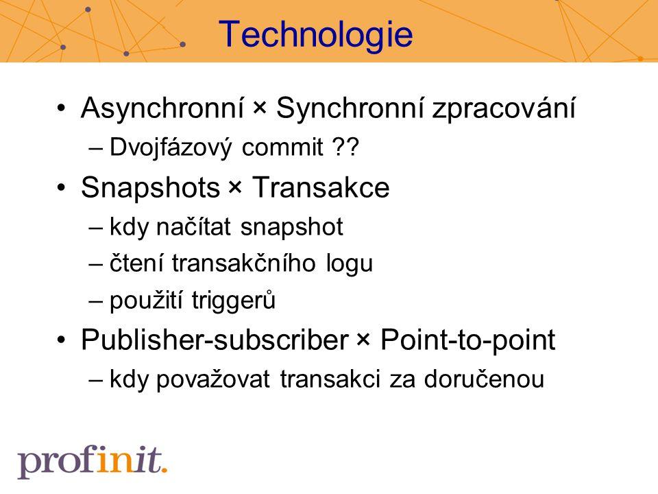 Technologie Asynchronní × Synchronní zpracování Snapshots × Transakce