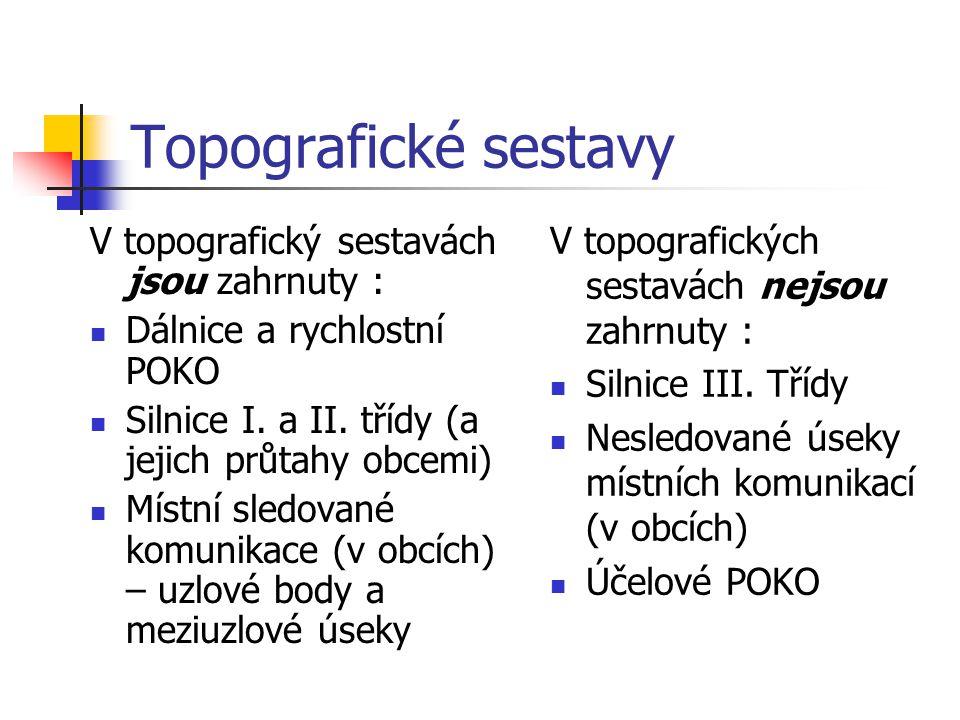 Topografické sestavy V topografických sestavách nejsou zahrnuty :