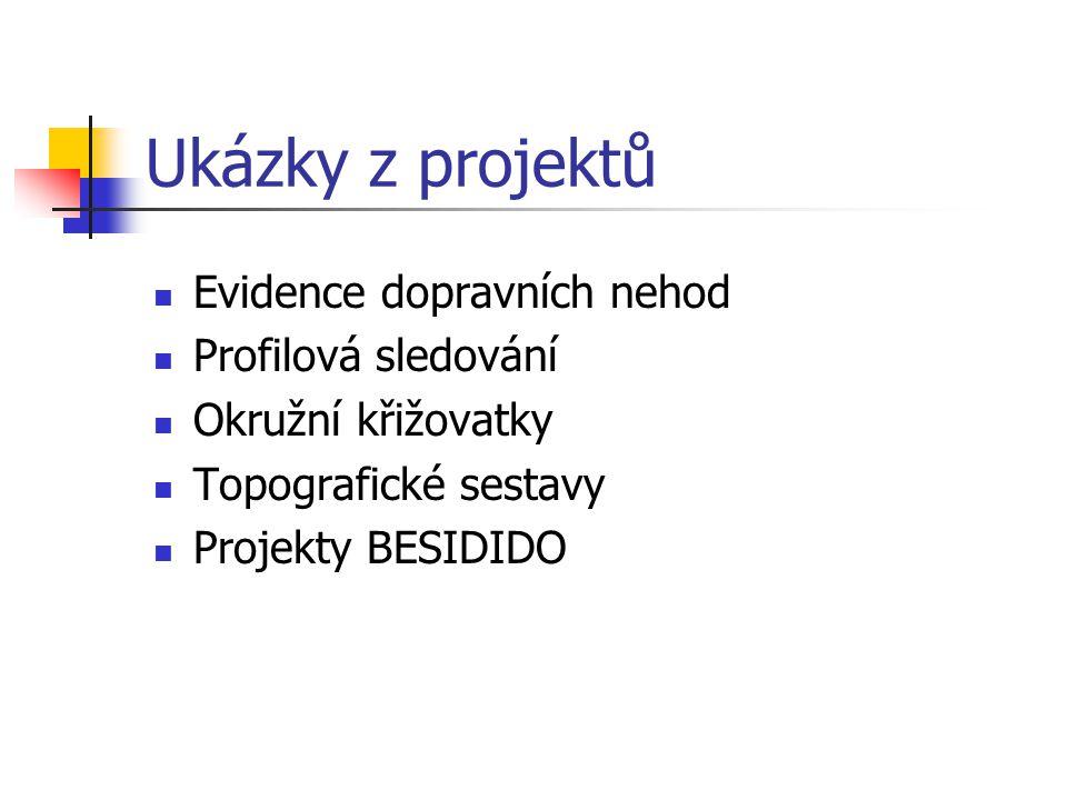 Ukázky z projektů Evidence dopravních nehod Profilová sledování