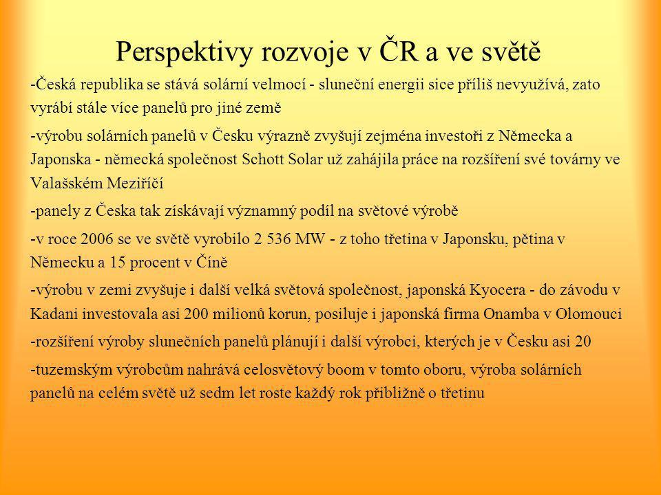 Perspektivy rozvoje v ČR a ve světě