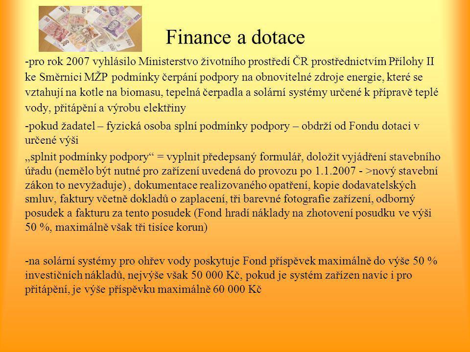 Finance a dotace