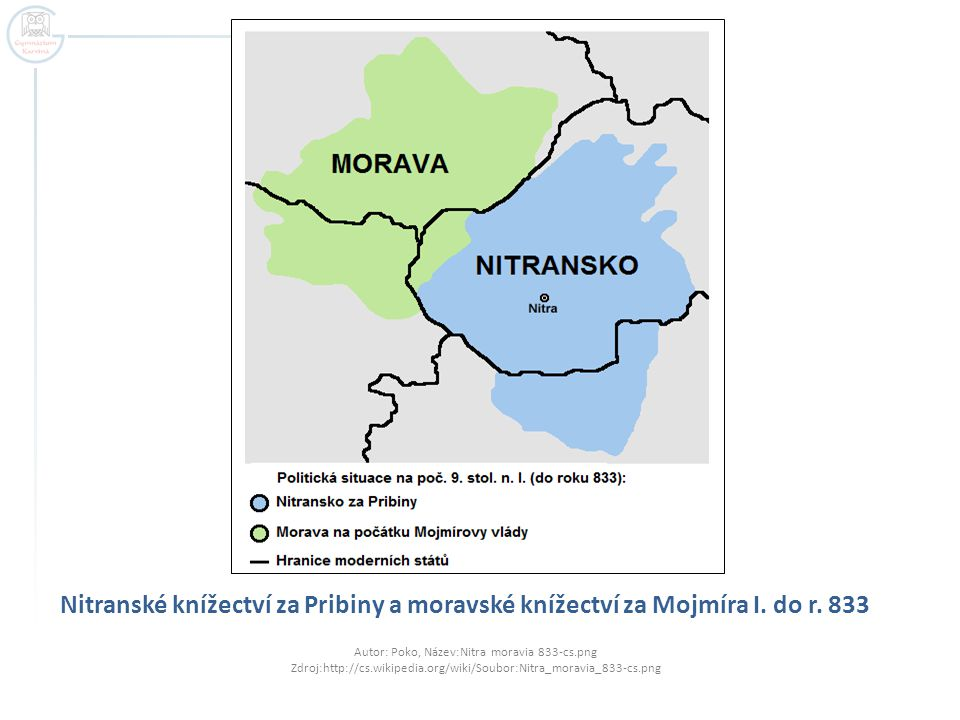 Nitranské knížectví za Pribiny a moravské knížectví za Mojmíra I. do r