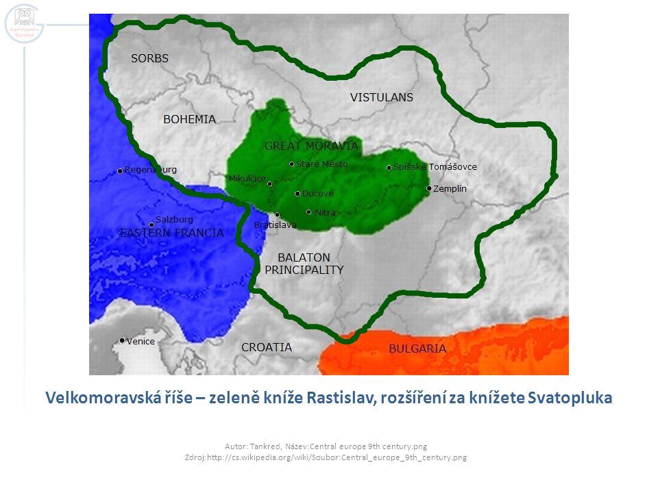Velkomoravská říše – zeleně kníže Rastislav, rozšíření za knížete Svatopluka