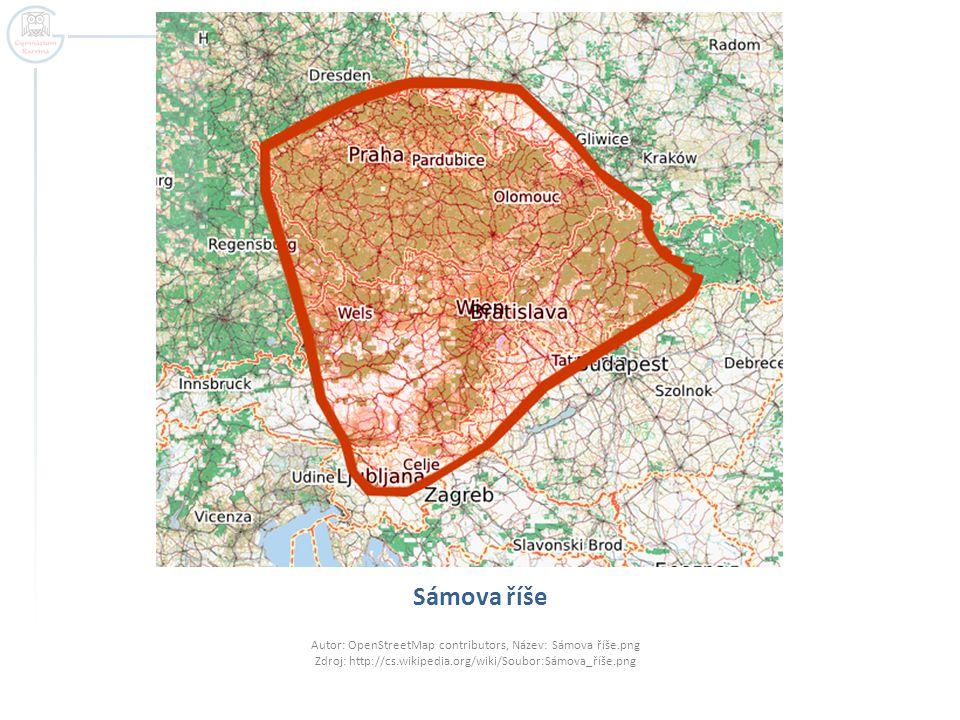 Sámova říše Autor: OpenStreetMap contributors, Název: Sámova říše.png Zdroj: http://cs.wikipedia.org/wiki/Soubor:Sámova_říše.png.