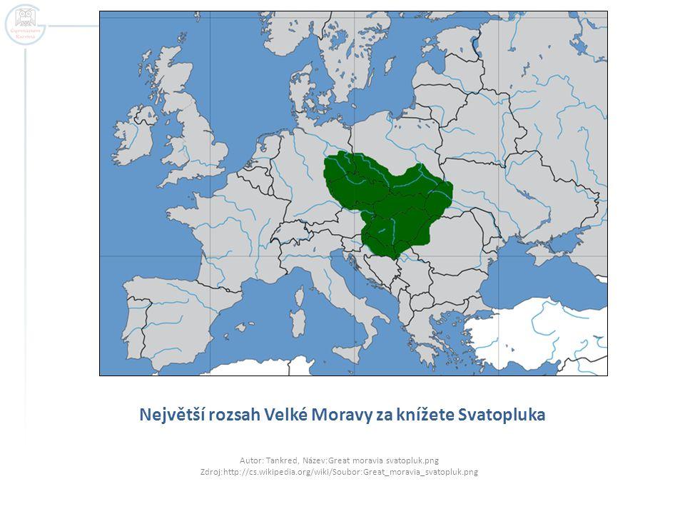 Největší rozsah Velké Moravy za knížete Svatopluka
