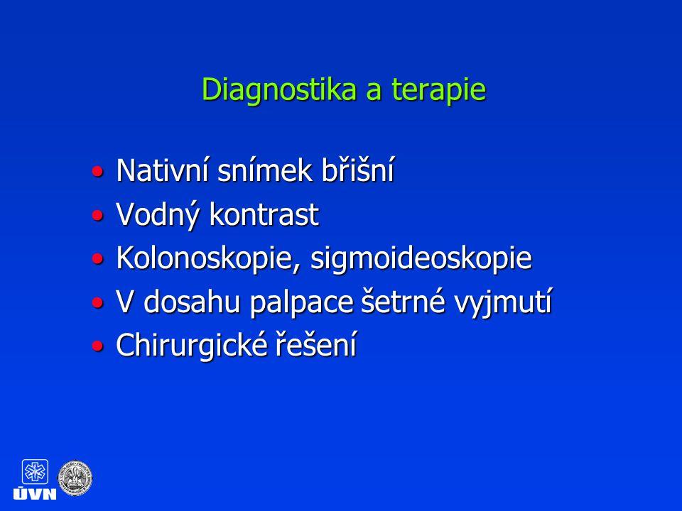 Diagnostika a terapie Nativní snímek břišní. Vodný kontrast. Kolonoskopie, sigmoideoskopie. V dosahu palpace šetrné vyjmutí.