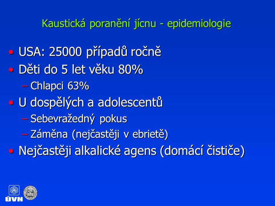 Kaustická poranění jícnu - epidemiologie