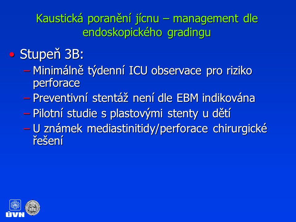 Kaustická poranění jícnu – management dle endoskopického gradingu