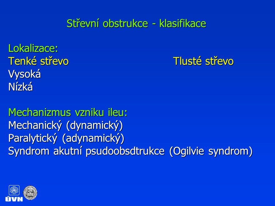 Střevní obstrukce - klasifikace