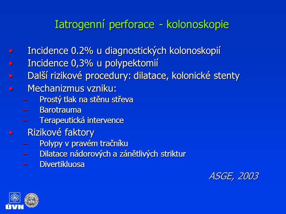 Iatrogenní perforace - kolonoskopie