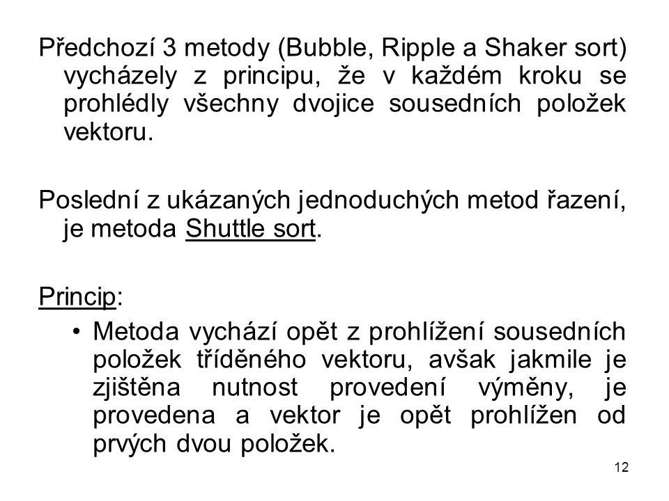 Předchozí 3 metody (Bubble, Ripple a Shaker sort) vycházely z principu, že v každém kroku se prohlédly všechny dvojice sousedních položek vektoru.