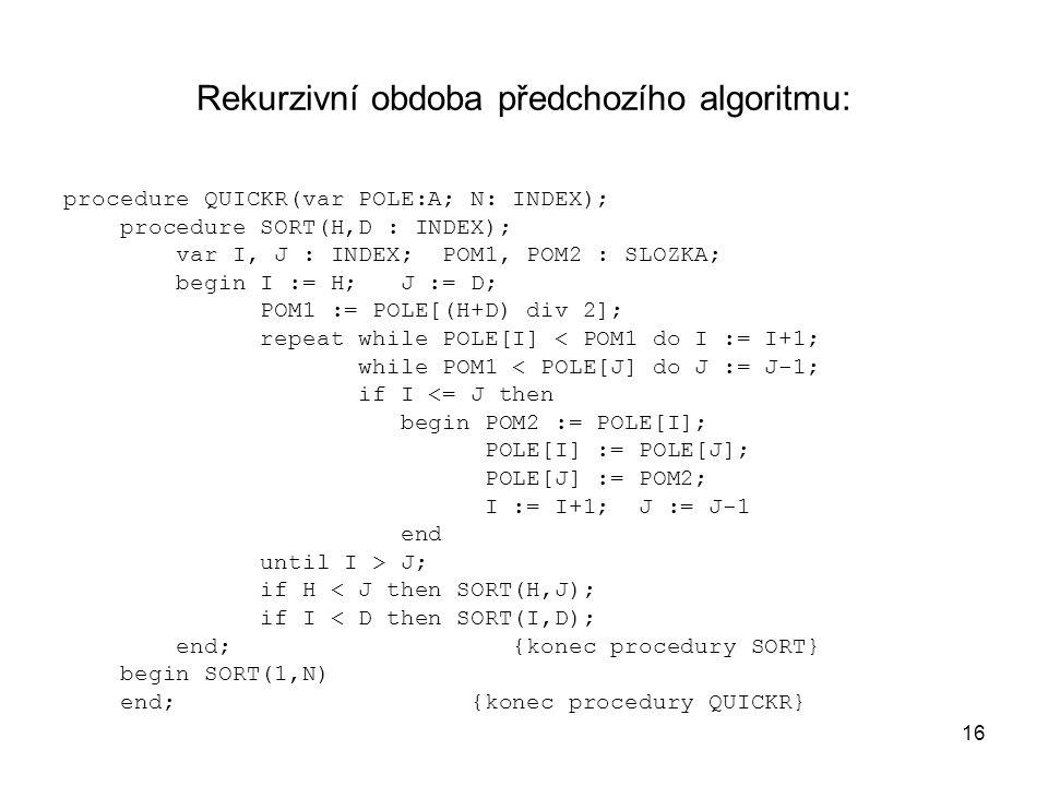 Rekurzivní obdoba předchozího algoritmu: