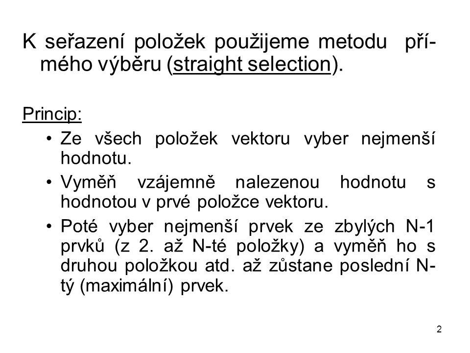 K seřazení položek použijeme metodu pří-mého výběru (straight selection).