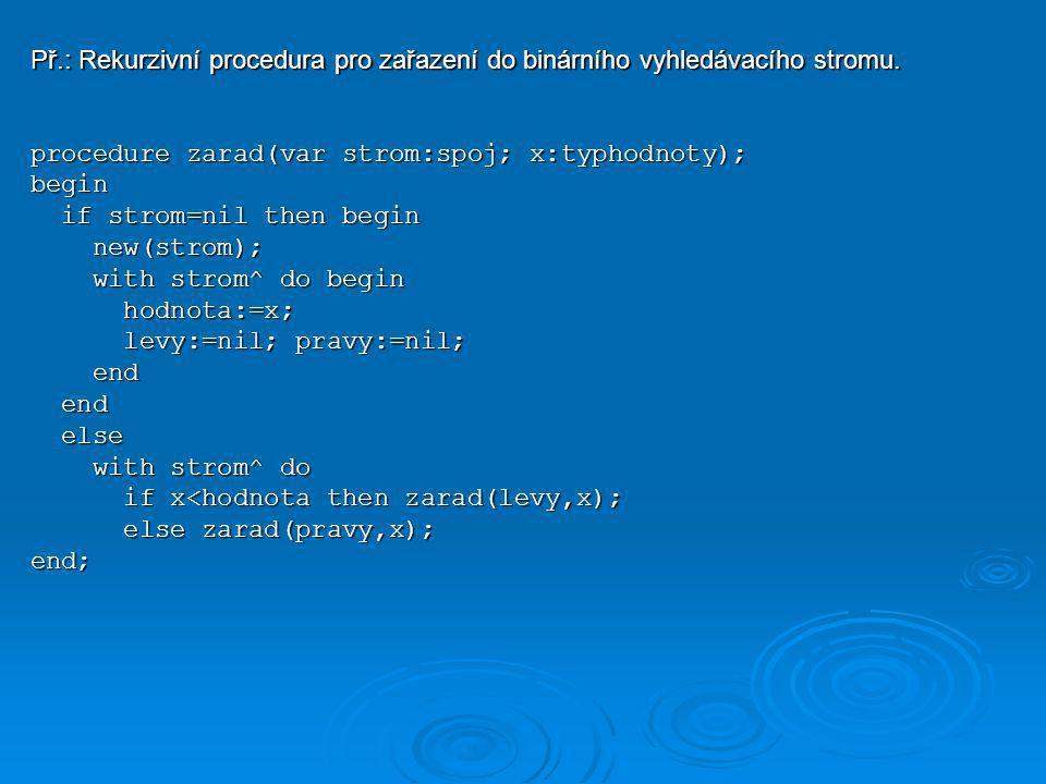 Př.: Rekurzivní procedura pro zařazení do binárního vyhledávacího stromu.
