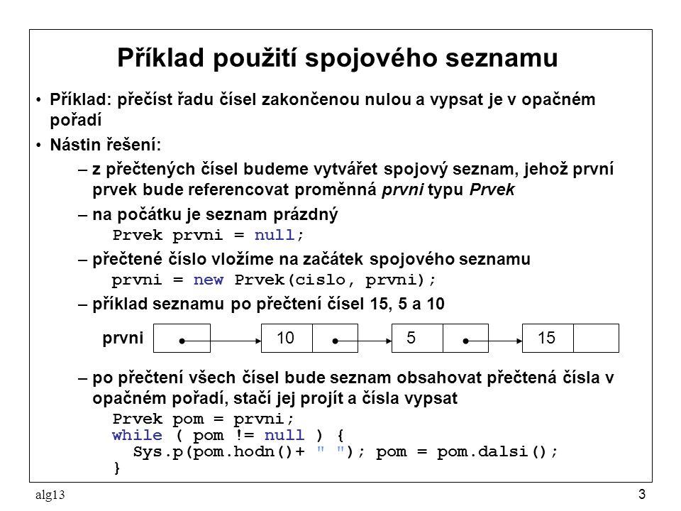 Příklad použití spojového seznamu