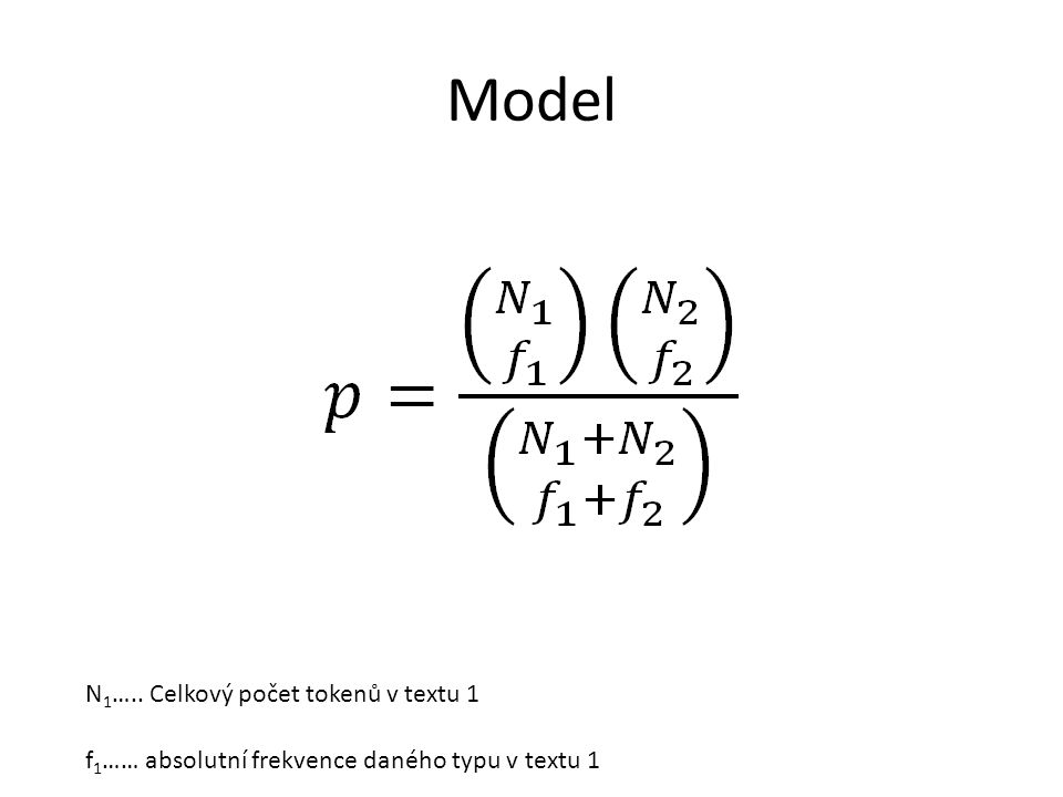 Model N1….. Celkový počet tokenů v textu 1